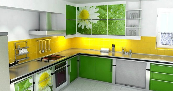 Dapur Hijau Gabungan Warna Di Pedalaman Apron Kertas Dinding Jubin Langsir